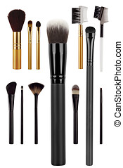 Various cosmetic brushes collection for applying face makeup blusher and foundation, beauty products isolated on white background, clipping path included