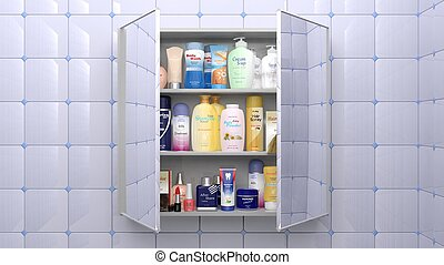 Various cosmetics and personal care products in bathroom ...