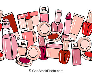 Various cosmetics in seamless horizontal border