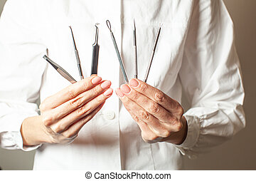 Various cosmetologist tools for restoring healthy skin
