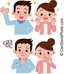 Various couple of facial expression - Vector illustration.
