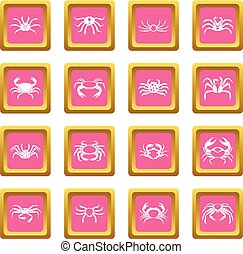 Various crab icons pink