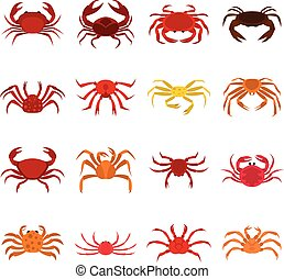 Various crab icons set in flat style