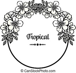 Various crowd of wreath frame, border flowers, for tropical card. Vector