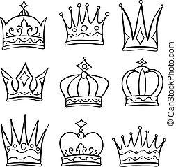 Various crown sketch doodle set