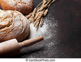Various crusty bread - Homemade crusty bread cooking on...