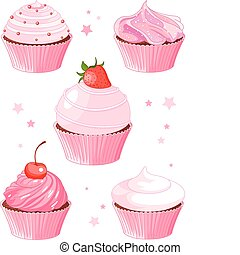 Set of five various cupcake