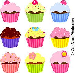 Set of various cupcake