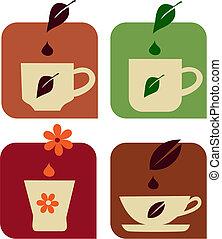 various cups of tea, vector icons / logos set