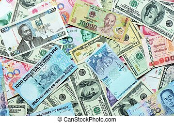 Various currency paper, banking and finance, money savings...