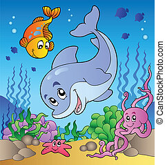 Various cute animals at sea bottom - vector illustration.