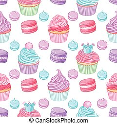 Various cute bright colorful blue, pink and purple desserts. Seamless vector pattern on white background.