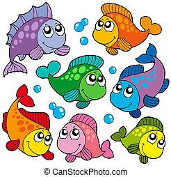Various cute fishes collection 2 - isolated illustration.