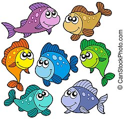 Various cute fishes collection - isolated illustration.