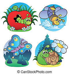 Various cute insect images 1 - vector illustration.