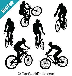 Various cycling poses