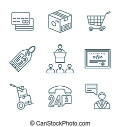 various dark color outline business distribution marketing process icons set