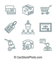 various dark color outline business distribution marketing process icons set