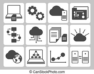 Database Icons Set - Various Dark Gray Database Icons Set on...