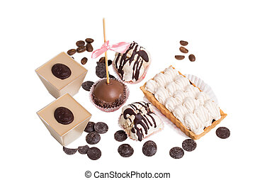 Various delicious french desserts.