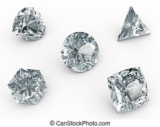 Various diamonds on white background. High resolution 3D ...