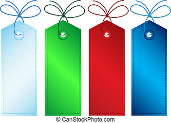 Various different coloured gift tags