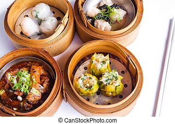 Various dim sum in bamboo steamed bowl - Various Dim Sum in ...