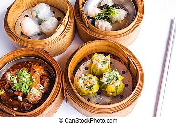 Various dim sum in bamboo steamed bowl - Various Dim Sum in...