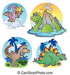Various dinosaur images 1 - vector illustration.