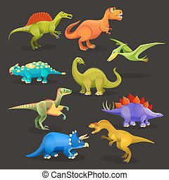 Various dinosaurs set of Jurassic period. Funny cartoon creatures