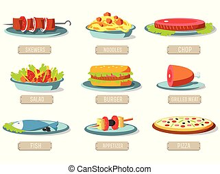 Various dishes icons set concept. Vector illustration design. Template for website and mobile appliance