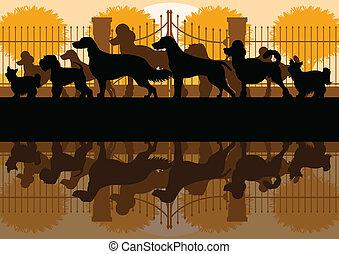 Various dog breeds silhouettes in dog park landscape...