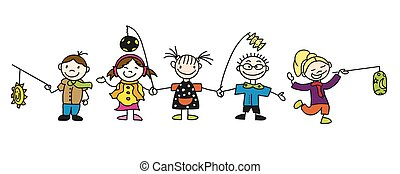 Various Doodle Sketched Kids with Latern, Hand-drawn Vector...