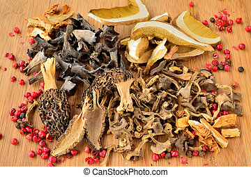 Various dried mushrooms, Penny Bun or Cep, Morels, Horn of...