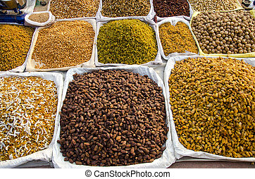 various dry fruits and nuts in India market