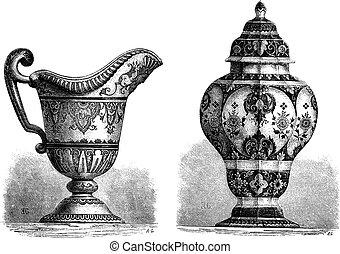 Various Earthenwares, found in Rouen, France, vintage engraving
