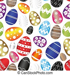 various Easter eggs color design with decoration elements seamless pattern eps10