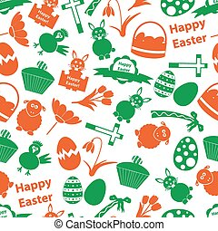 various Easter icons seamless color pattern eps10