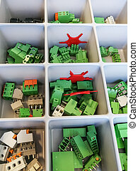 Various electrical connector in the tray - Many electronic ...