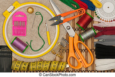 Various embroidery accessories