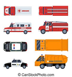 Various emergency vehicles flat icon set