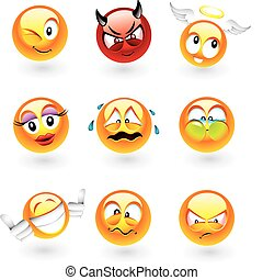 Various emoticons - Set of nine smilies with different...