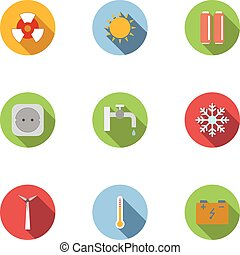 Various energy icons set, flat style