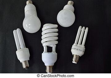 Various energy saving lamps - Fuenf Energiesparlampen auf...