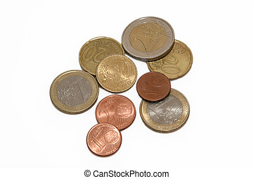 various euro coins