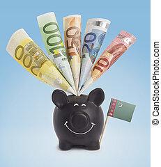 Various european banknotes in a happy piggybank of Turkmenistan.(series)