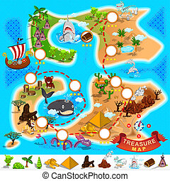 Various Exotic Location from Pirate Treasure Map File is Eps.10 (contain transparency)