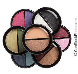 Various eye shadows and blushers isolated