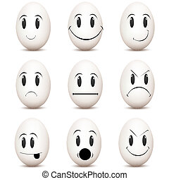 various facial expressions - illustration of types of mood ...