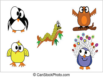various feathered animals on white